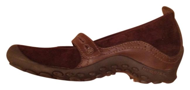 Item - Brown Leather Plaza Bandeau Mary Janes Structured Heeled Sole Mules/Slides Size US 8.5 Regular (M, B)