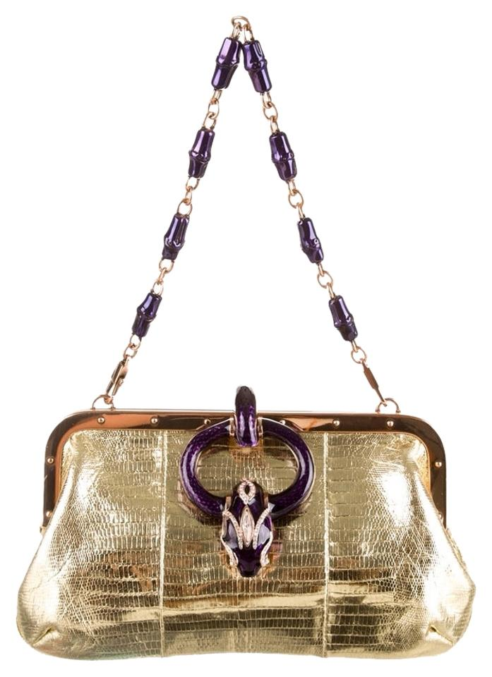 4a7f808a55a Gucci Ford Rare Serpent Clutch-highly Collectible Gold Lizard ...