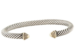 David Yurman Sterling silver David Yurman Cable Classics gold caps cuff bracelet