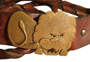 vintage leather belt with solid brass lion buckle