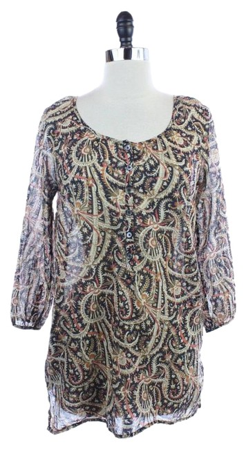 Item - Brown XS Ornate Pattern Cotton Coverup Tunic Size 0 (XS)