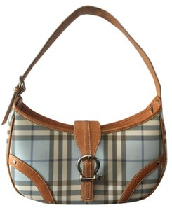 Burberry London Vintage Leather Canvas Shoulder Bag