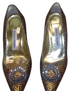 Manolo Blahnik Gold & black Pumps
