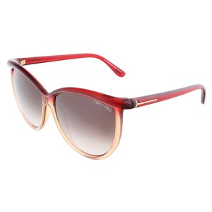 Tom Ford Tom Ford Transparent Red Honey Oversized Sunglasses