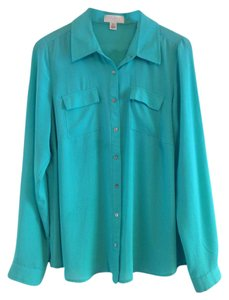 Forever 21 Button Down Shirt Green