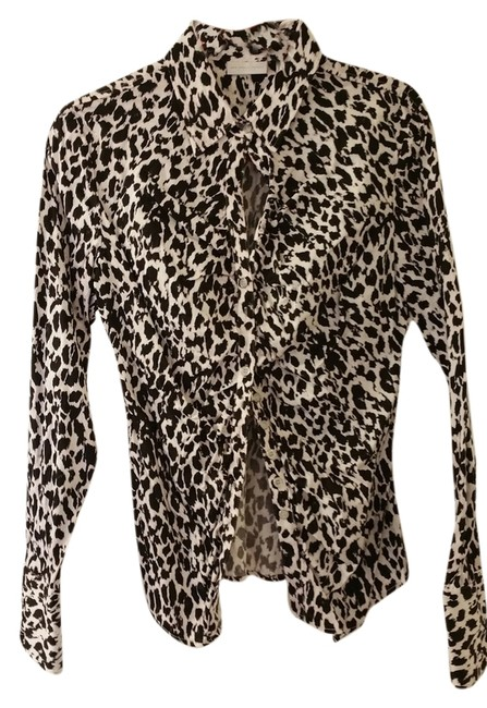 Preload https://item2.tradesy.com/images/new-york-and-company-black-and-white-leopard-print-ruched-front-from-blouse-size-12-l-1948741-0-0.jpg?width=400&height=650