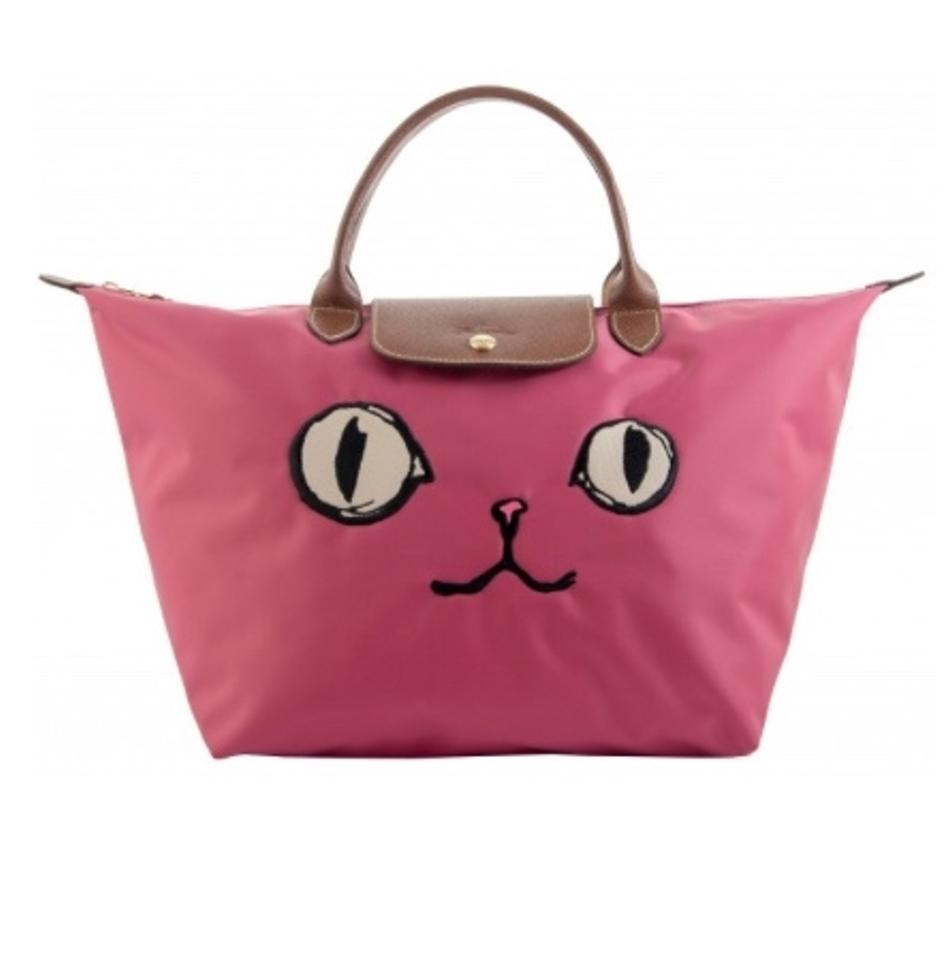 Longchamp Limited Edition Cat Face Miaou Le Pliage Tote in pink Image 0 ... ddb3ca39bdca1