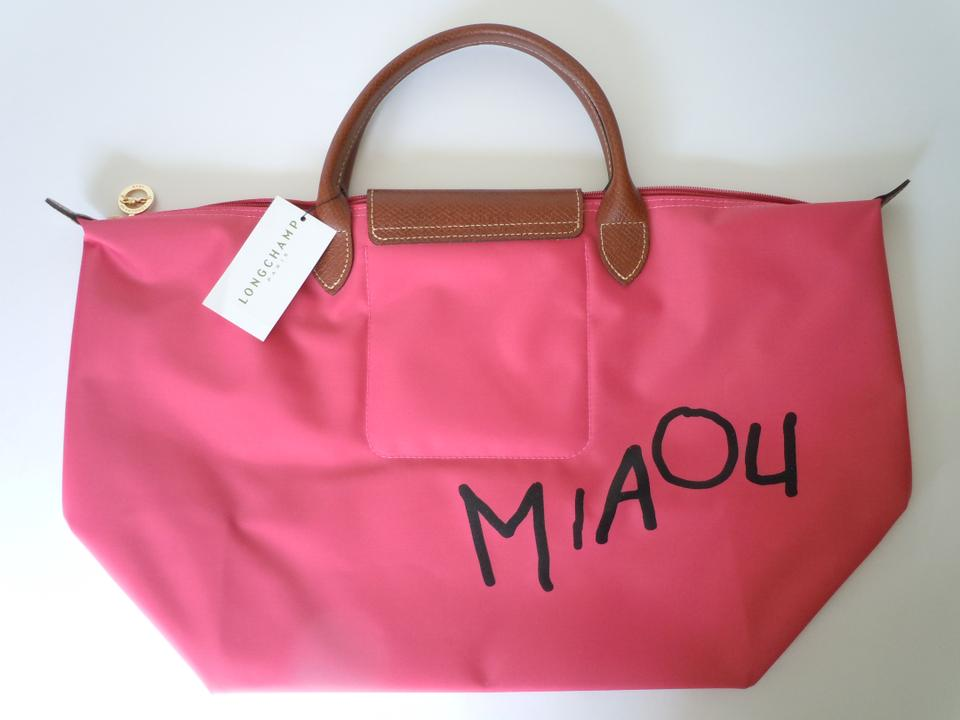 694c4fcbe8d2 Longchamp Limited Edition Cat Face Miaou Le Pliage Tote in pink.  1234567891011