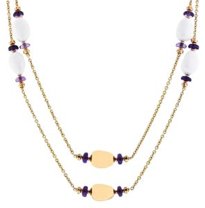 BVLGARI BULGARI 18K ROSE GOLD WHITE ENAMEL & AMETHYST BEADS NECKLACE