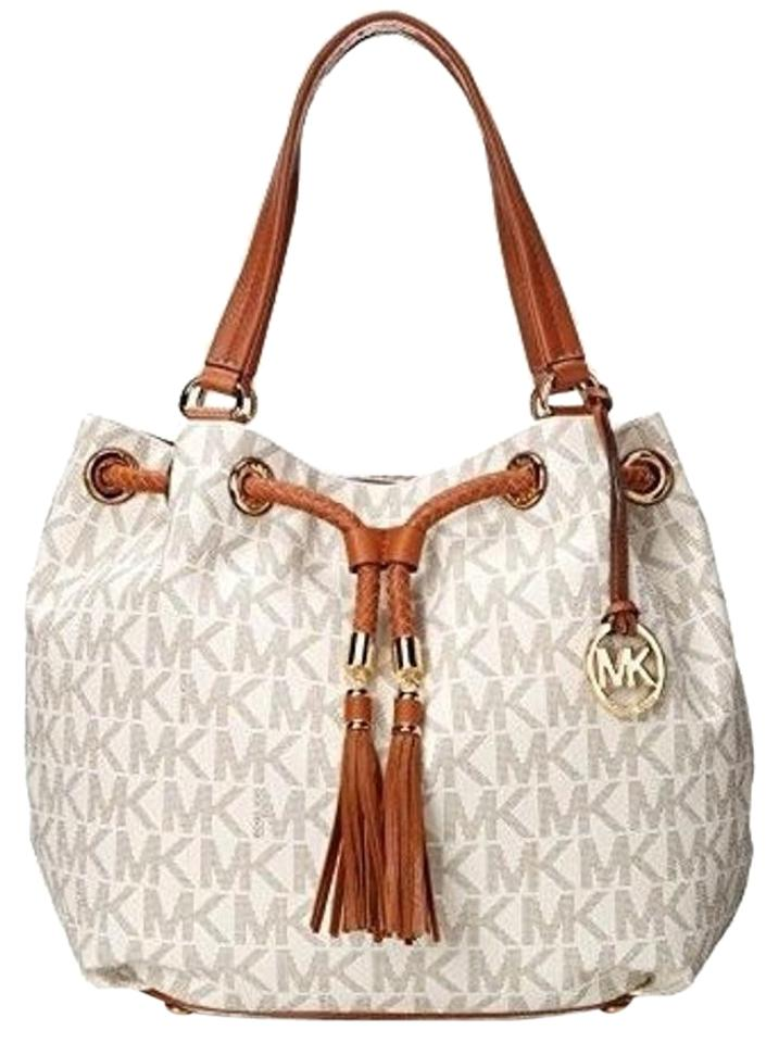 5955a4f91903 Michael Kors Jet Set Gathered Shoulder 30t3gttt9b Tote in Vanilla Image 0  ...