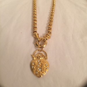 Joan Rivers Necklace/Bracelet Large Link W/Heart Charm W/Crystals Joan Rivers