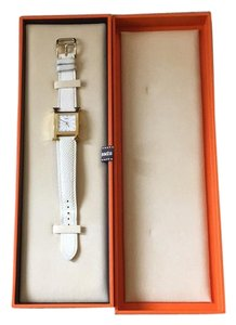 Hermès Hermes H Hour Heure PM white leather gold-plated steel watch