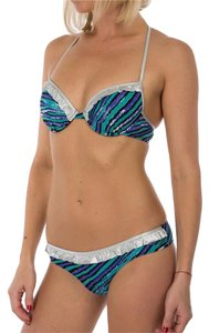 Just Cavalli Brand New Cavalli Silver And Blue Striped Push-Up Bikini Set