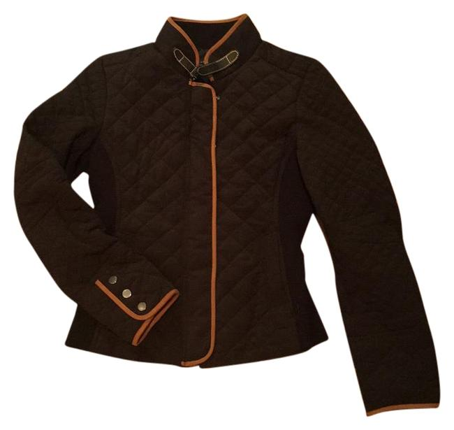 Item - Black with Tan Trim Quilted Nylon Jacket Size 4 (S)