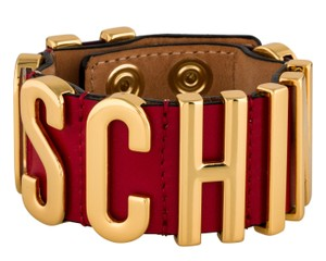 Moschino Gold-tone Moschino red leather letter logo bracelet