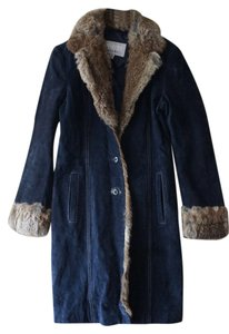 Maxima Leather Retro Blue and fur Jacket