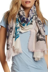 LEIGH & LUCA Leigh & Luca Chantarelle Flock Classic Rectangle Fringe Scarf