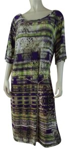 Brown, Purple, Green Maxi Dress by Mlle Gabrielle 1x Abstract Stretch Pullover Shift