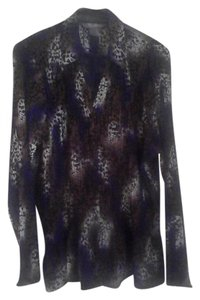 TanJay 100% Polyester Top Purple, brown, white