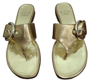 Joan & David Leather Thong Gold Sandals