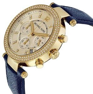 Michael Kors Michael Kors Chronograph Gold-tone Navy Leather Ladies Watch