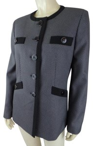 Kasper Long Fitted 8 Tweed Button Gray, Black Blazer