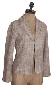 BCBGMAXAZRIA Frayed Tweed Formal Lined Silk PINK Blazer