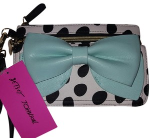 Betsey Johnson Wristlet in Pastel blue, white and black
