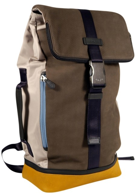Item - Duffle Perforated Leather F71536: Msrp Grey and Yellow Suede Nylon Backpack