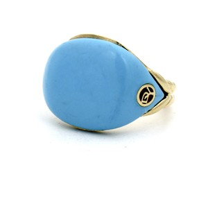 David Yurman David Yurman Bubblegum Limited Edition Blue Pinky Ring 18k Gold Size 4