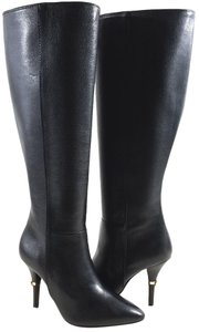 Tory Burch Grained Calfskin Signature Logo Full-zip Pointed Toe Made In Brazil Black Boots