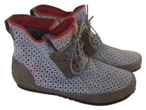 Sorel Perforated Leather Light Gray and tan with orange trim Boots