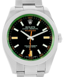 Rolex Rolex Milgauss Black Dial Green Crystal Steel Mens Watch 116400V