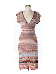 M Missoni Striped Knit V-neck Dress