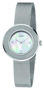 Gucci Gucci U Play Steel Watch w/ Mother of Pearl and 3 diamonds