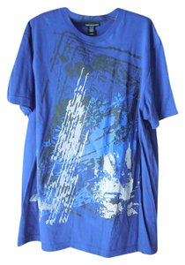 DKNY Men Xl Cotton Shimmery Logo T Shirt Blue