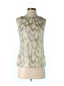 Trina Turk Gold Silk Top Ivory