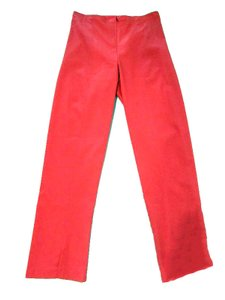Klaveli High Waist Flat Front Colored Straight Pants Coral