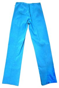 Klaveli High Waist Flat Front Straight Pants Blue