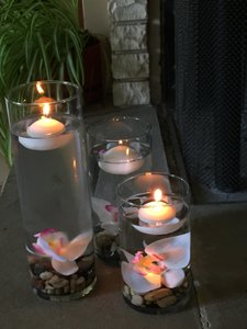 3 Piece Glass Vase With Orchids And Floating Candles
