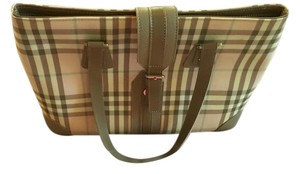Burberry London Tote in Tan plaid