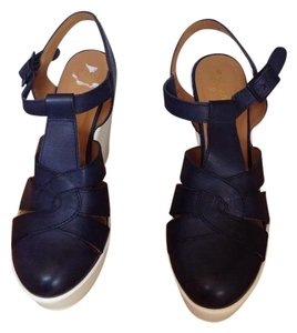 Seychelles Navy blue and white Wedges