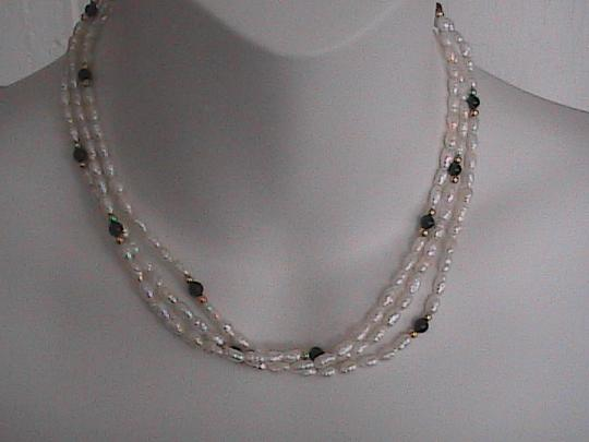 Vintage 14k Yellow Gold Freshwater & Black Onyx Pearl Necklace