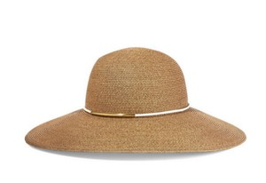Eugenia Kim Honey faux leather-trimmed straw sunhat