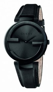 Gucci Men's Interlocking Large MEN'S BLACK PVD W/ BLACK LEATHER WATCH