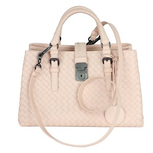 Bottega Veneta Leather Woven Tote in Blush