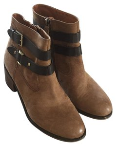 Franco Sarto Leather Motorcycle Block Heel Brown, Tobaco Boots
