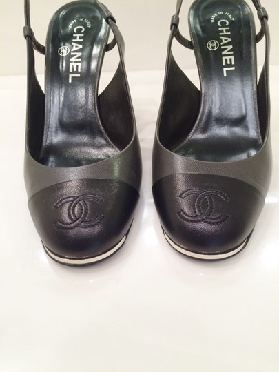 Chanel Slingback Leather Padded Grey and Black Sandals