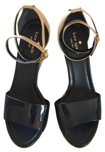Kate Spade Patent Leather Ankle Strap Navy Blue Wedges