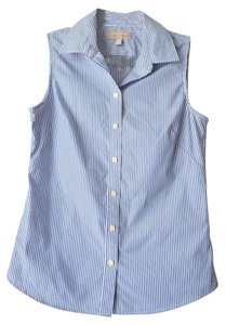 Banana Republic Non-iron Stripes Sleeveless Shirt Button Down Shirt Blue-Striped